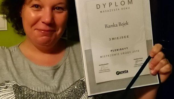 """Dyplom za 3-miejsce """"Masażysty Roku"""" w plebiscycie Mistrzowie Urody 2019"""